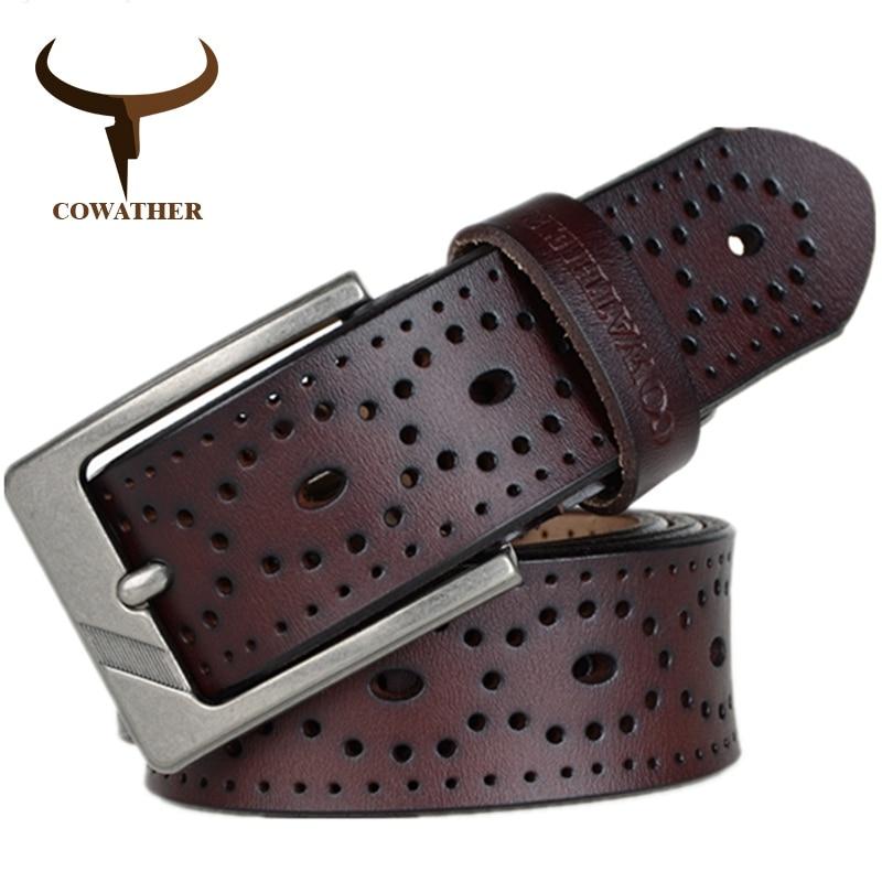 COWATHER 2018 Femmes Ceintures Nouveau design Creux qualité supérieure vache véritable ceinture jeans en cuir boucle ardillon femelle XF007 Taille 28-41