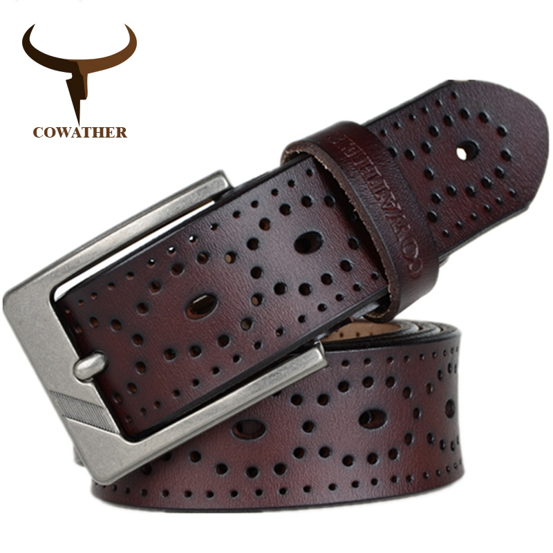 COWATHER 2018 Women   Belts   New Hollow design high quality cow genuine leather jeans   Belt   pin buckle female XF007 Waist 28-41