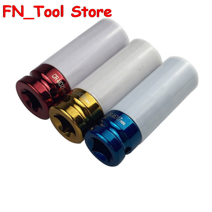 3Pcs 17mm 19mm 21mm 1/2IN Colorful sleeve Tire protection sleeve Wall Deep Impact Nut Socket Alloy Wheel цена