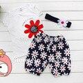 3 шт. девочка малыш футболка повязка на голову + + цветочные техники одежда комплект для горячая распродажа