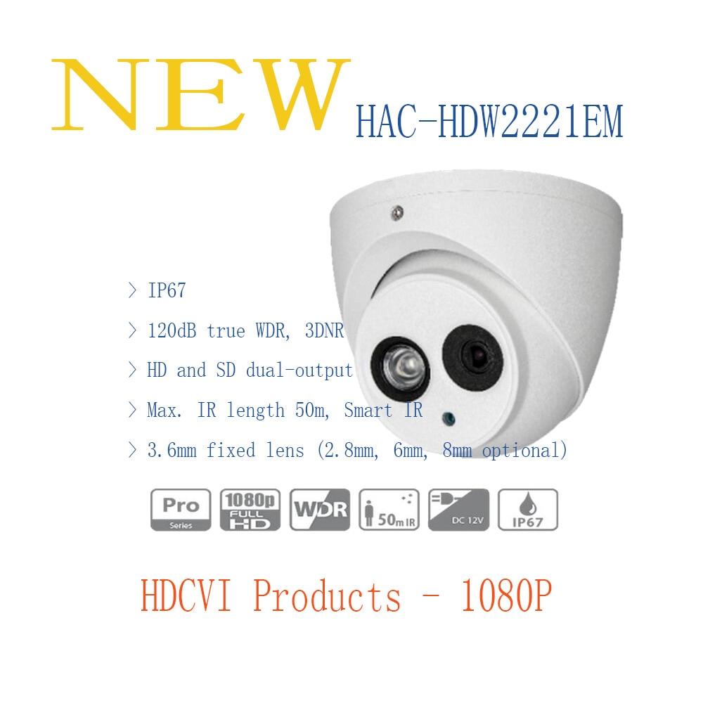 ФОТО DAHUA Security Camera CCTV 2MP FULL HD WDR HDCVI IR Eyeball Camera IP67 with 50M IR Distance Without Logo HAC-HDW2221EM