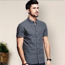 Мужская весенняя одежда зауженного покроя, одежда с короткими рукавами, большие размеры, летние мужские повседневные рубашки из чистого хлопка серого цвета, брендовая повседневная одежда
