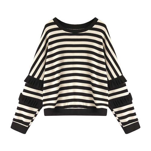 M-4xl Striped Sweatshirt Pullovers Women Plus Size Spring Autumn Ruffles Long Sleeve Tops Casual Harajuku Feminino White Green 4