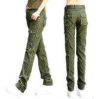 Women Military Cotton Cargo Pants Ladies Casual Summer Loose Trousers Army Green Plus Size S-3XL Camouflage Pants Females Black