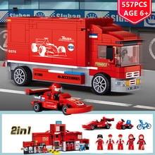 цены 557Pcs 2IN1 City F1 Formula Racing Car Transport Truck Car Building Blocks Sets Bricks Toys for Children
