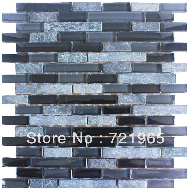 Grey Stone Mosaic Pattern Black Glass Mosaic Tile Kitchen