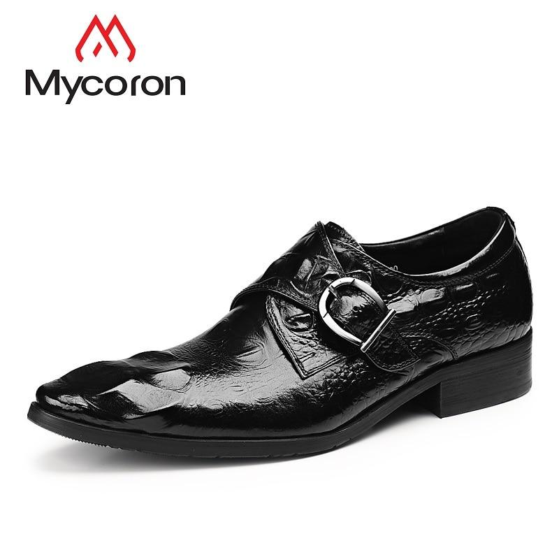 30212a11f9c3ce Mycoron Chaussures marron En Crocodile Chaussure Bout D'affaires Pointu  Cuir Motif Gentleman Véritable Mens Classique Hommes ...