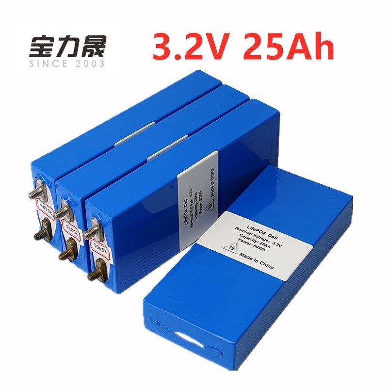 LiFePo4 4 PCS 3.2 v 26ah da bateria recarregável de polímero li bateria celular para 12V25AH e moto-3C 75a conversor HID luz solar