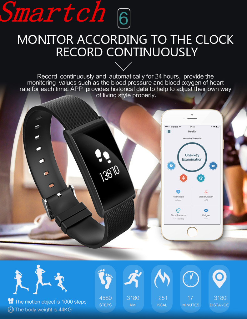 Smartch N108 Smart IP67 Band Heart Rate Blood Pressure Oxygen Monitor Bracelet Pedometer Sport Wrist Clock