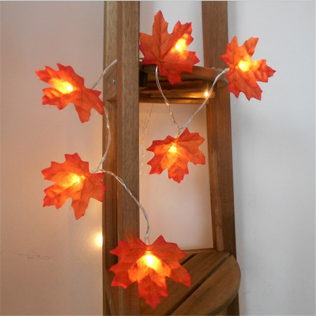 Led Lights 10 Count Battery Operated Fall Autumn Harvest Maple Leaf Shaped String