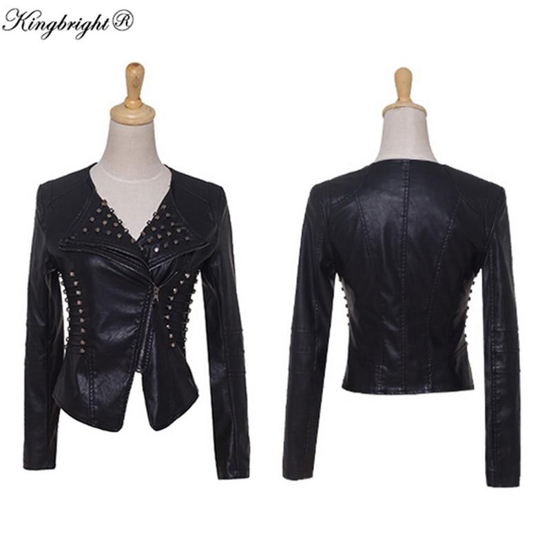 King Bright Brand Autumn Lady Outerwears Women's Faux Leather Belted Zipper Lapel Long Sleeve Pockets Moto Streetwear Jacket