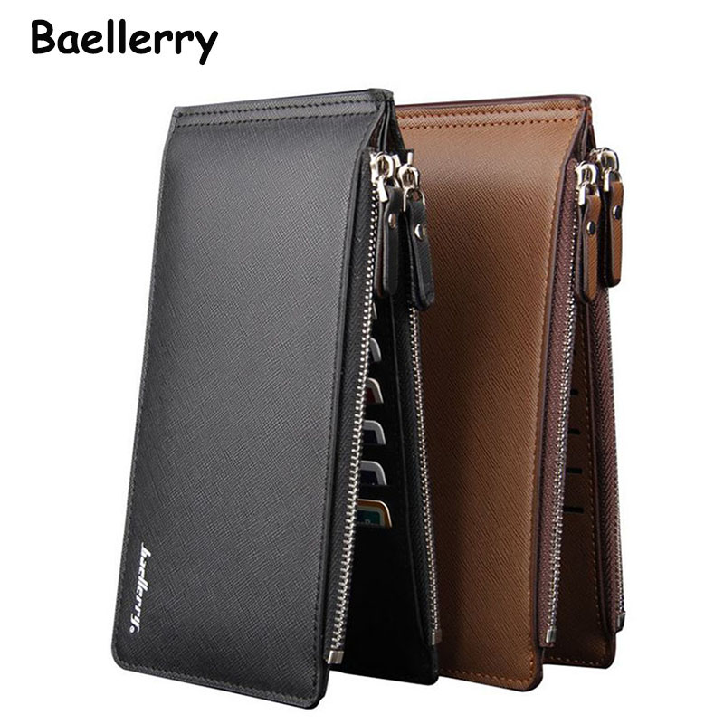 New Fashion Long Business Men Card Holder Wallet Black Brown Double Zipper Coin Purse Senior Pu Leather Men's Clutch bag 2017 men wallet double zippers business clutch handbag purse pu leather coin card holders purses lt88