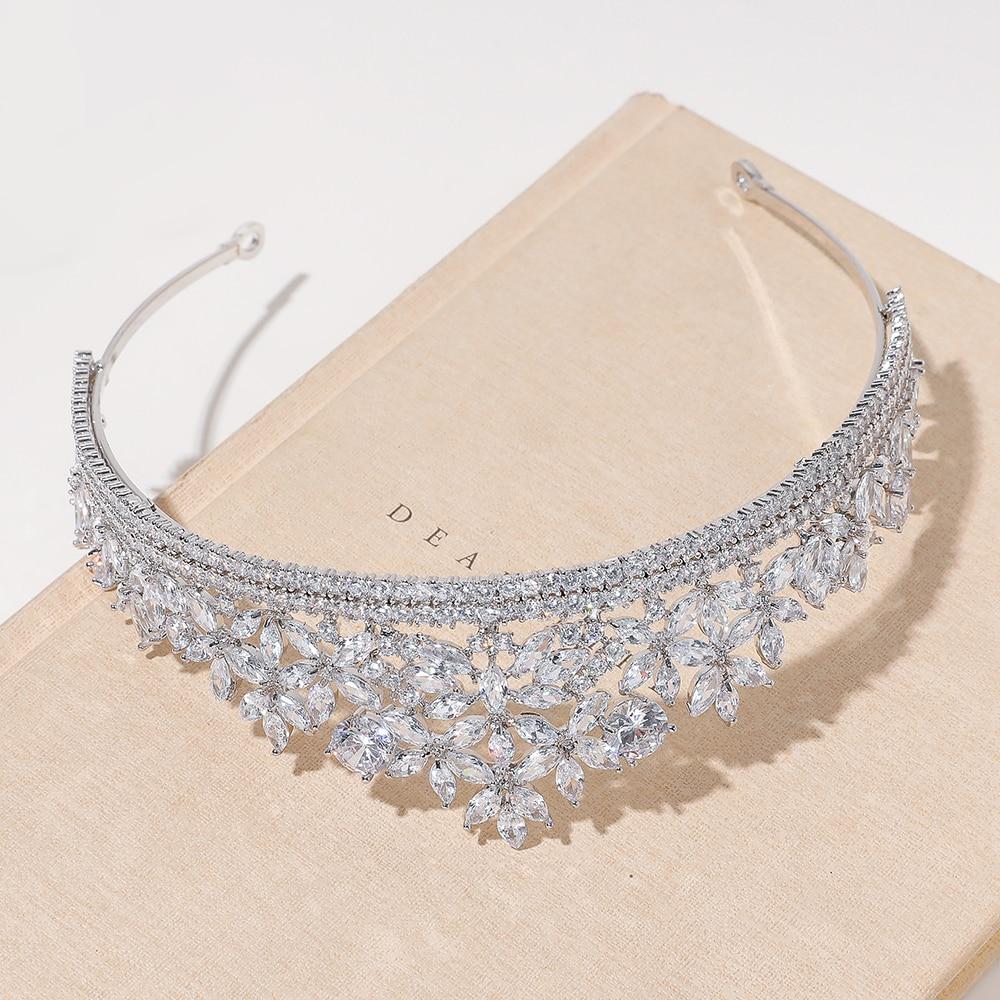 Parmalambe High Quality Zircon Encrusted Silver Hair Tiaras Flower Charms Handmade Crown Wedding Hair Accessories coroa de noiva