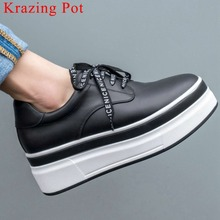 2019 preppy style natural leather round toe lace up thick high bottom platform concise seakers comfortable vulcanized shoes L96