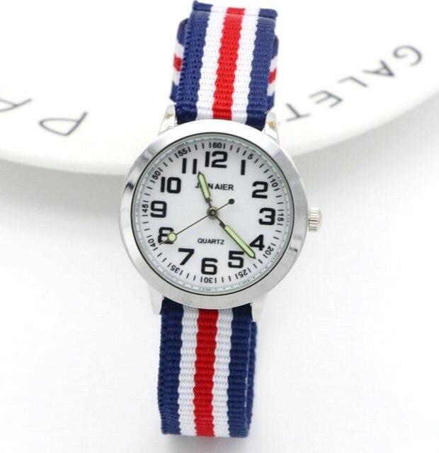 Nuovo arrivato moda bambini svegli imparare a tempo numero orologio al quarzo bambini mani luminose sport nylon fiore regalo bello orologi