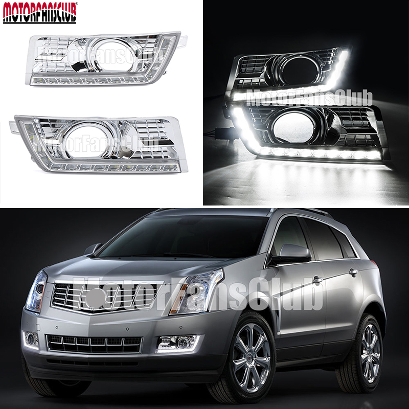 ABS Chrome Trim 2x LED Daytime Running Light For Cadillac SRX 2010 2011 2012 2013 2014 SUV DRL Fog Light hot sale abs chromed front behind fog lamp cover 2pcs set car accessories for volkswagen vw tiguan 2010 2011 2012 2013