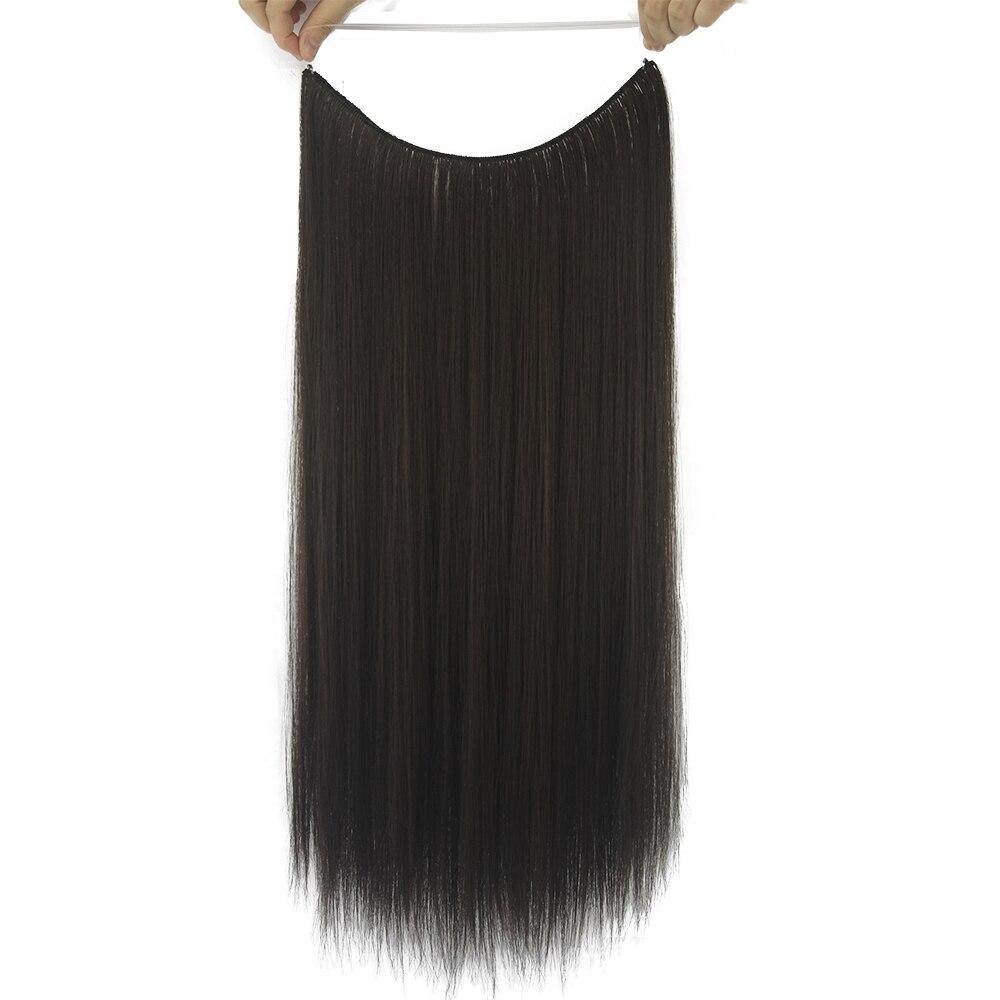 Soowee 24 длинные Коричневый и серый цвет Синтетические волосы рыба линия Halo Невидимый прямой Химическое наращивание волос жаропрочных шиньо...