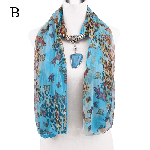 AOLOSHOW Fashion jewelry pendant necklace scarf for women with resin heart metal charms pendant jewellery neck scarf .NL-2152 stylish solid color lightweight pleated scarf for women