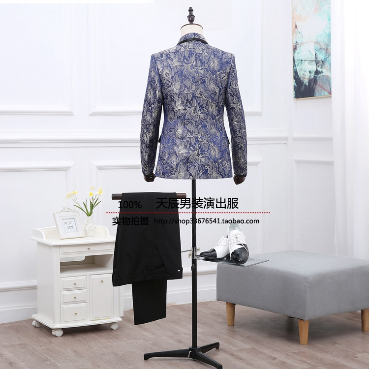 2018 Printed blue suit dress suit west Male host costumes suit cultivate ones morality of England The singers clothing