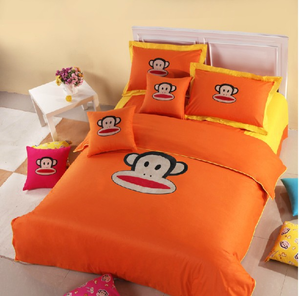 Free Shipping Orange Bedding Set Cute Orange Monkey