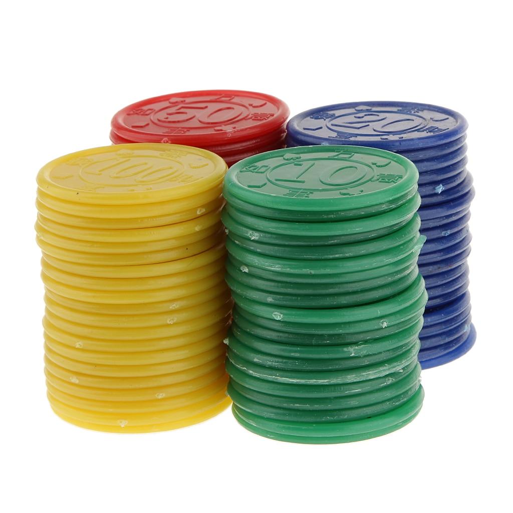 Multicolour 80 Plastic Poker Chips Kit Pokerstars Bargain Set Gambling Chips DIY Your Combinations for Gaming Tokens