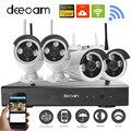 Deecam 4CH IR HD Wi-fi de Segurança Em Casa Sistema de Câmera IP Sem Fio 720 P CCTV Set Ao Ar Livre Wifi Câmeras de Vídeo Vigilância CCTV KIT NVR
