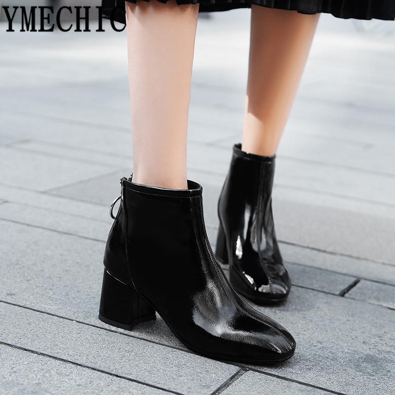 YMECHIC 2018 Womens Patent Pu Leather Ankle Boots Plus Size Red Black Block Heel Shoes Bootie