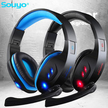7 1 Surround USB Gamer Gaming Headphones Luminous With Microphone for Computer Folding Headsets Glow Headphone