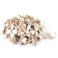 PPYY новые-маленькие Мини Деревянные прищепки для одежды/декоративные колышки с сердечками, белые