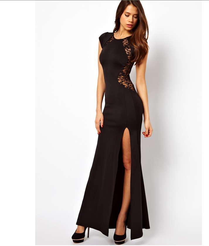 Fashion Women Sexy And Sophisticated Floral Lace Dress Black Long Dress  High Side Slit Elegant Womens Romantic Summer Clothing In Dresses From  Womenu0027s ...