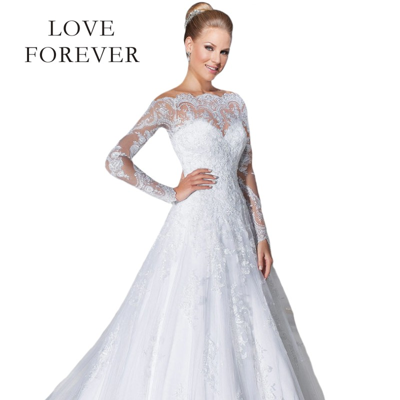 2017 long sleeve lace wedding dresses white off the for Wedding dresses off white lace