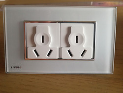 Livolo Standard Power Socket, White Crystal Glass Panel, 110~250V 16A Wall Power Outlet, VL-C3C2B-81