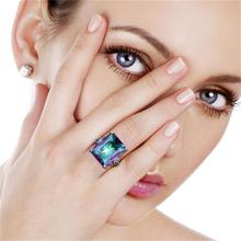 Women Purple Zircon Ring Fashion Vintage Style Black Color Filled Jewelry Wedding Rings For Birthday Gifts