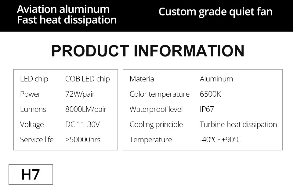 1 pcs LED H7 LED Car Headlight Bulb 8000LM LED H4 H7 H11 9005 9006 9012 4300k 6500k COB Hight Low beam MINI 12V 24V 72W 50000h (8)