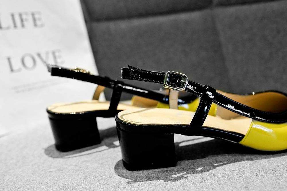 Krazing Pot gemengde kleuren chunky med hakken gesp grote maat slingback pumps puntige teen preppy stijl big size schoenen l31-in Damespumps van Schoenen op  Groep 3