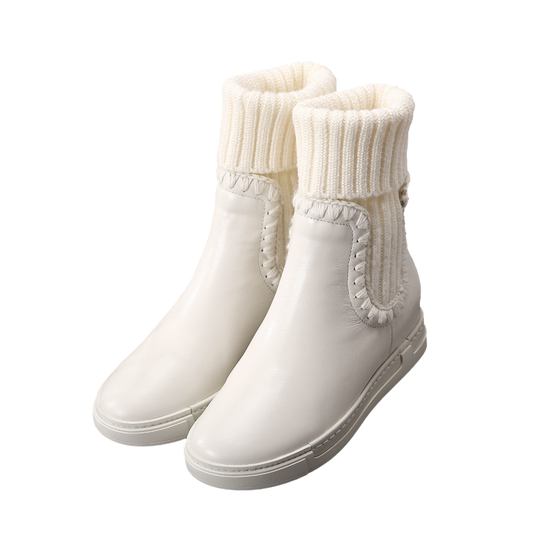 2018 winter new Korean wild plus cashmere Martin boots white leather boots flat autumn and winter in tube boots autumn and winter new leather shoes with leather boots and boots with flat boots british classic classic hot wild casual shoes