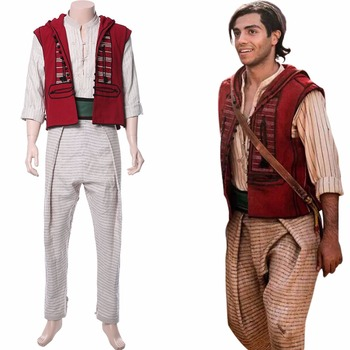 2019 Movie Aladdin Cosplay Costume Prince Mena Massoud Outfit Hat Adult Halloween Carnival Aladdin Costume Custom for Party image