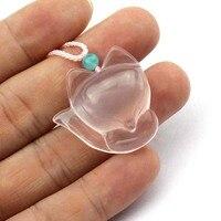 natural rose quartz necklace pendant natural gemstone pendant Fox carved pendant for love for cute woman girl wholesale !