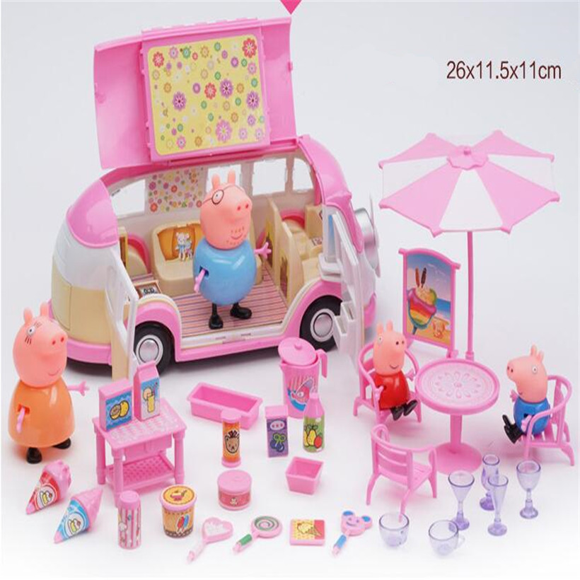 Fashion Peppa Pig Doll Dining Car Complete Series Family Roles Sports Car Kids Toys Action Figure Model Children Gifts