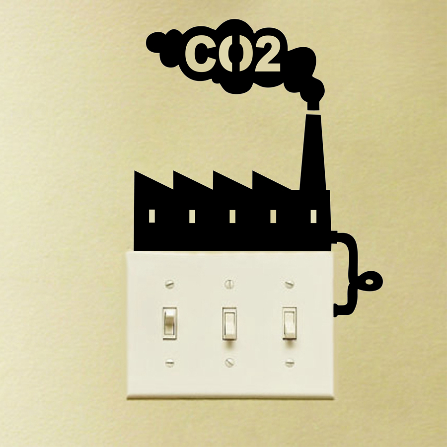 Large size Cool Environmental Theme CO2 Switch Vinyl Wall Sticker ...