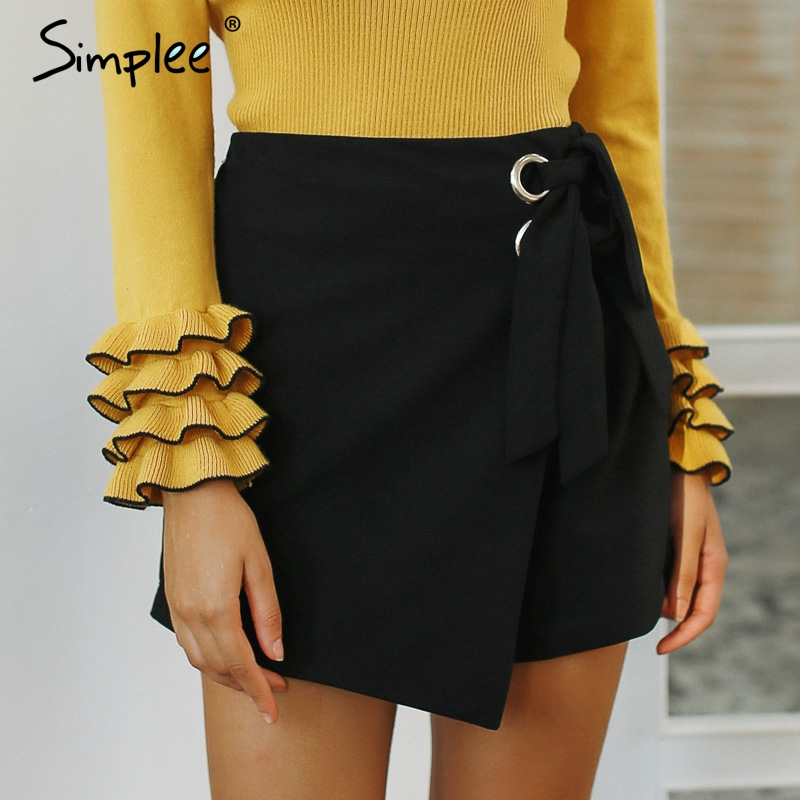Simplee Fashion wrap sash skirt   shorts   High waist sexy bow tie white women   shorts   2018 Autumn winter asymmetrical   shorts
