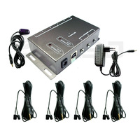 IR Remote Extender 4 Dual Head Emitters 1 Receiver Infrared Repeater Hidden System Kit (US Plug)
