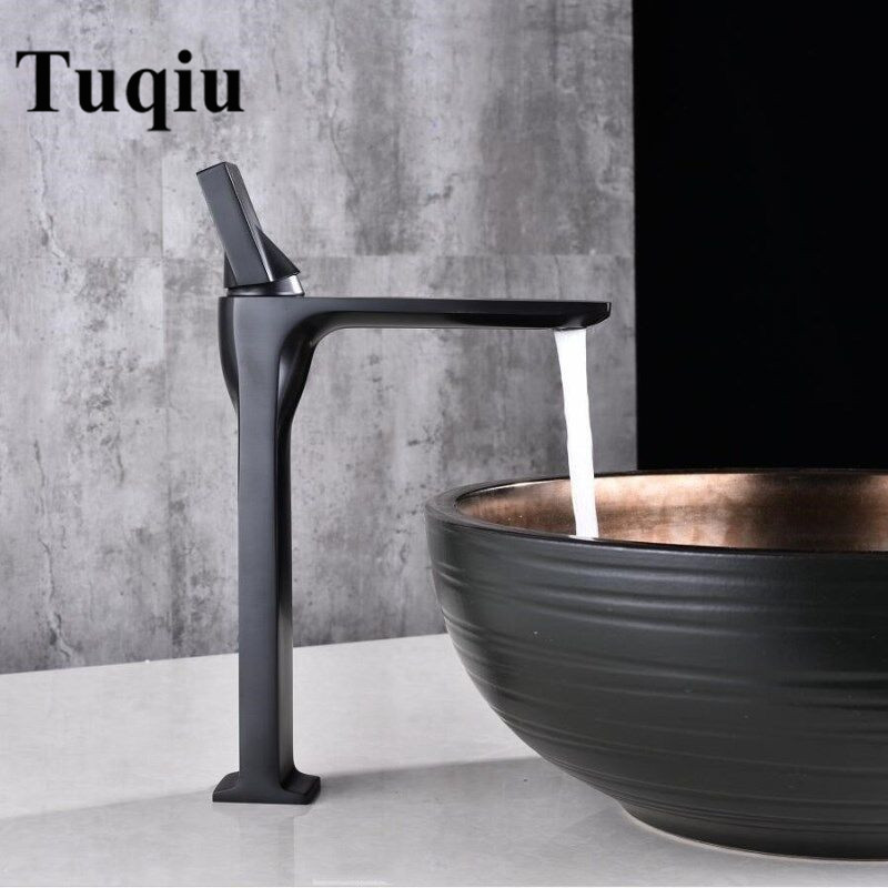 Basin Faucet Black Brass Retro Bathroom Sink Faucet Single Handle Swivel Spout Kitchen Deck Vessel Mixer