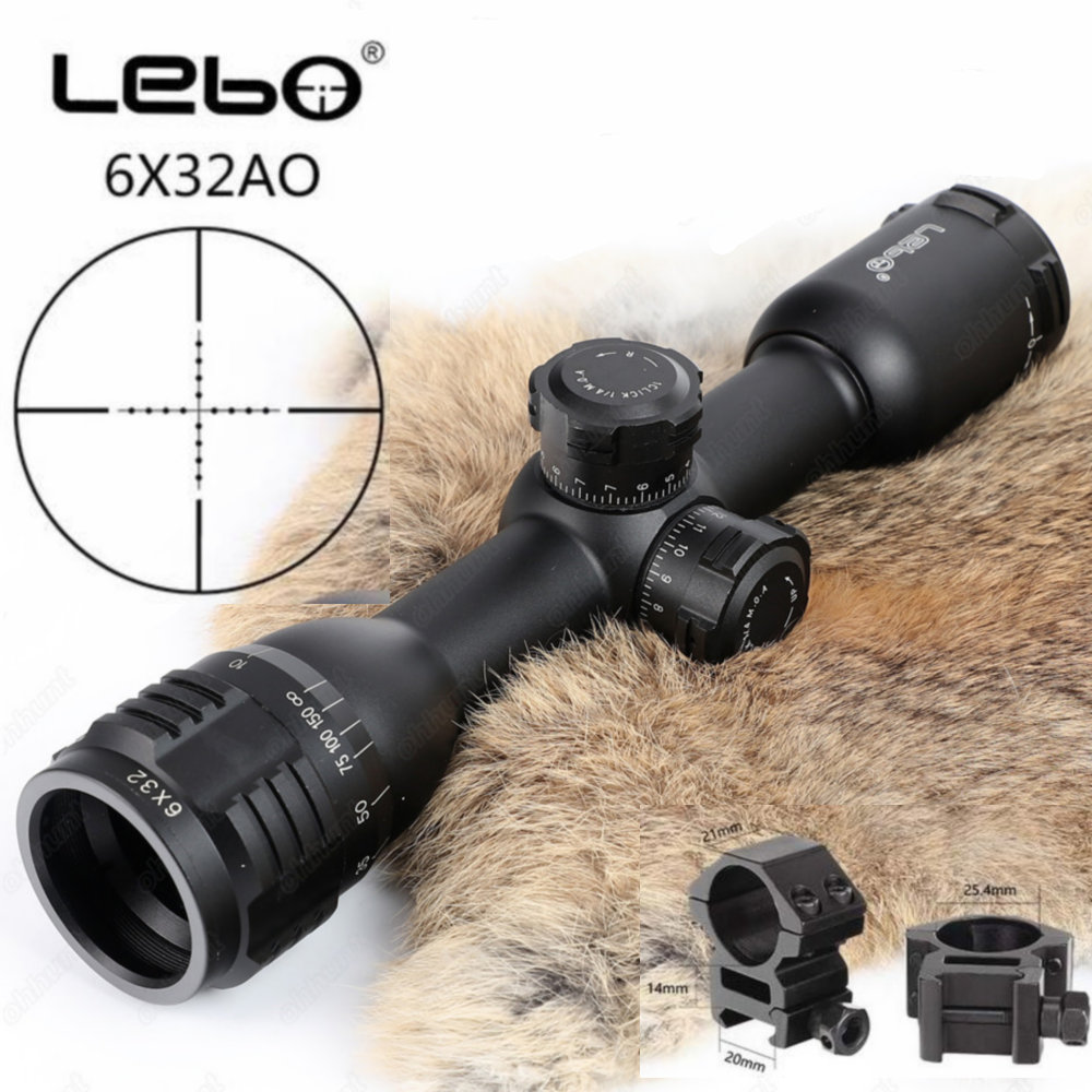LEBO 6x32 AO Mil-Dot Glass Etched Reticle Compact Lock Tactical Optical Sight Rifle Scope For Hunting Trail Riflescope tactial qd release rifle scope 3 9x32 1maol mil dot hunting riflescope with sun shade tactical optical sight tube equipment