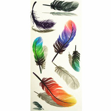 3D Lifelike Pretty Temporary Tattoo 19X9CM Colorful Feathers