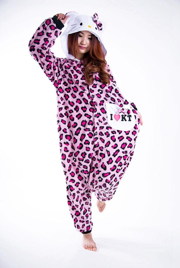 234a107e91 Leopard Print KT Cat Animal Pajamas Unisex Adult Jumpsuits Flannel ...