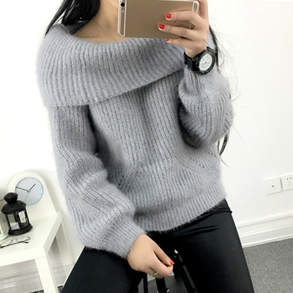 2018 Winter Casual Elegant Beige Office Lady Vintage Women Tops Slim Thick Plain Slash Neck Female Fashion Gray Sweet Sweaters 1