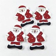(20pieces)Santa Claus Wood Button Accessories Necklace Pendant Vintage Bracelet Charms 35-50mm Hanger Jewelry Findings 52348