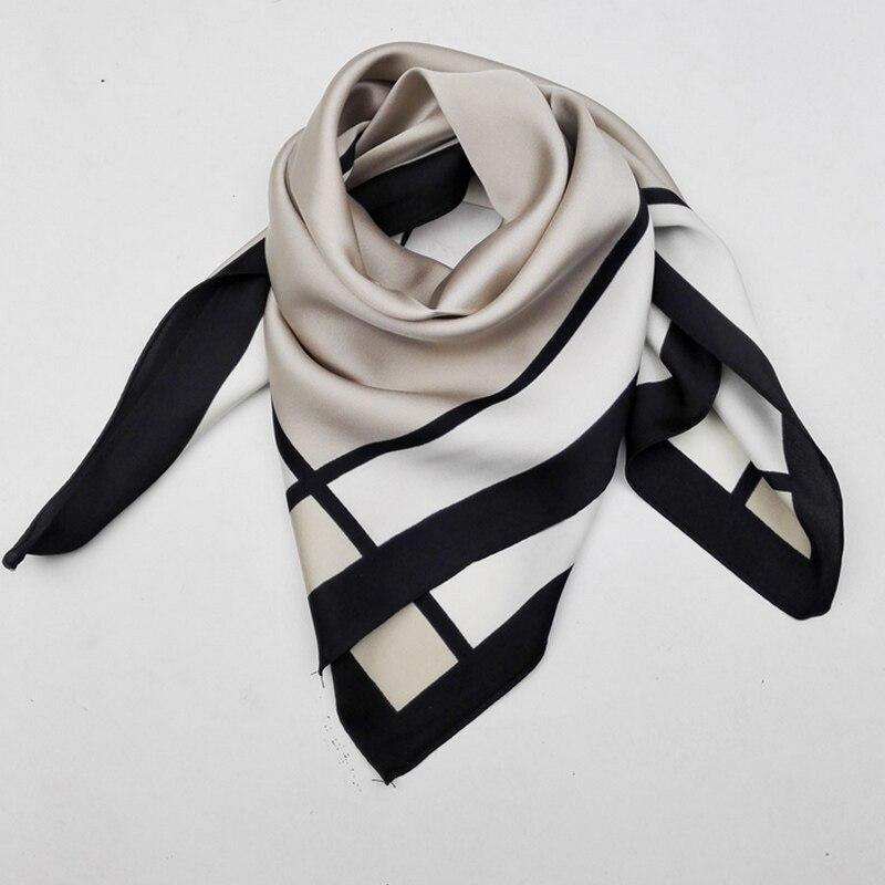 2017 Fashion Women Printing Polyester Silk Lattice Square Scarf Kerchief 55x55cm JL