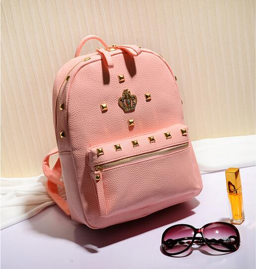 Aliexpress.com : Buy crown rivet school backpack pu leather school ...